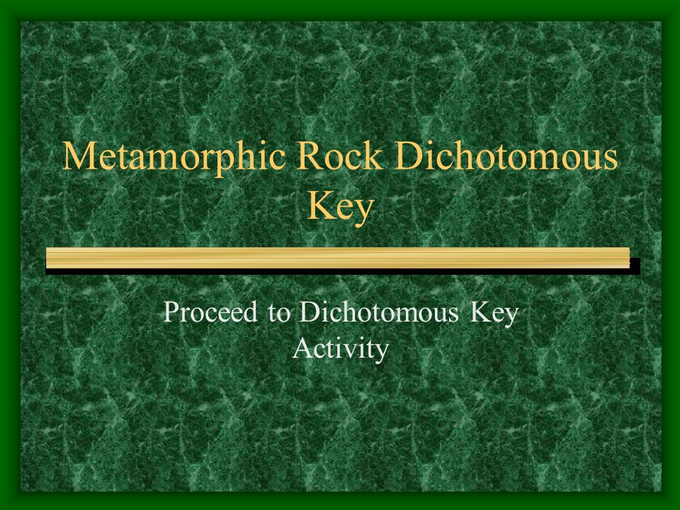 Metamorphic Rock Dichotomous Key Proceed to Dichotomous Key Activity