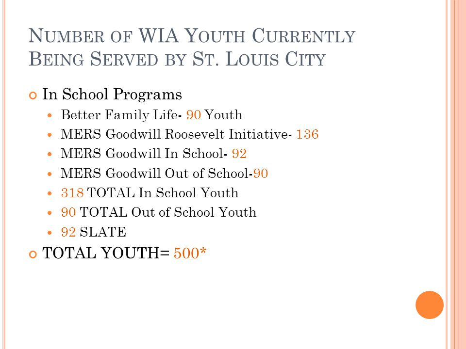 N UMBER OF WIA Y OUTH C URRENTLY B EING S ERVED BY S T. L OUIS C ITY In School Programs Better Family Life- 90 Youth MERS Goodwill Roosevelt Initiativ