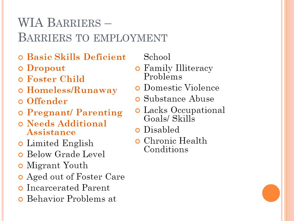 WIA B ARRIERS – B ARRIERS TO EMPLOYMENT Basic Skills Deficient Dropout Foster Child Homeless/Runaway Offender Pregnant/ Parenting Needs Additional Assistance Limited English Below Grade Level Migrant Youth Aged out of Foster Care Incarcerated Parent Behavior Problems at School Family Illiteracy Problems Domestic Violence Substance Abuse Lacks Occupational Goals/ Skills Disabled Chronic Health Conditions