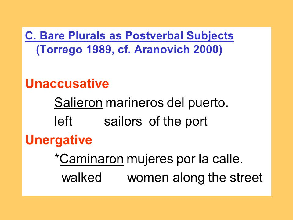 C. Bare Plurals as Postverbal Subjects (Torrego 1989, cf.