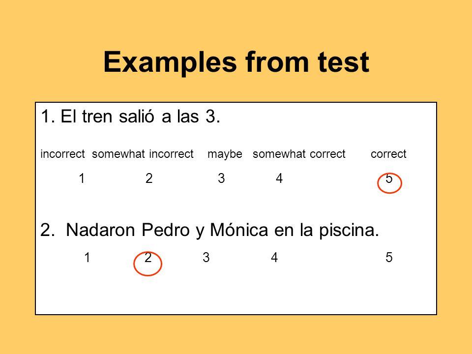 Examples from test 1. El tren salió a las 3.