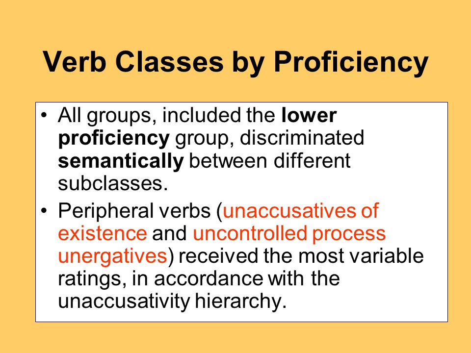 Verb Classes by Proficiency All groups, included the lower proficiency group, discriminated semantically between different subclasses.