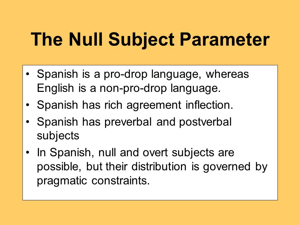 The Null Subject Parameter Spanish is a pro-drop language, whereas English is a non-pro-drop language.