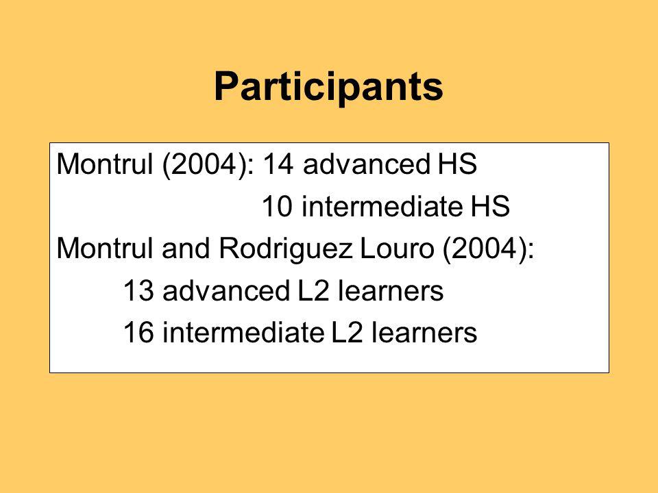 Participants Montrul (2004): 14 advanced HS 10 intermediate HS Montrul and Rodriguez Louro (2004): 13 advanced L2 learners 16 intermediate L2 learners