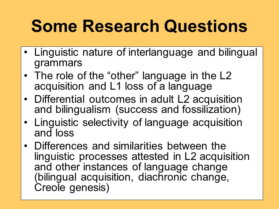 Specific Research Questions 1.
