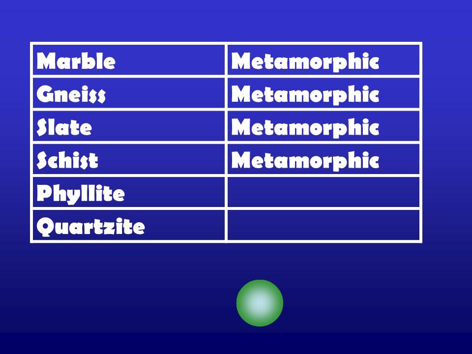 MarbleMetamorphic GneissMetamorphic SlateMetamorphic SchistMetamorphic Phyllite Quartzite
