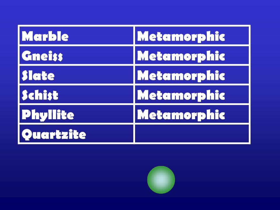 MarbleMetamorphic GneissMetamorphic SlateMetamorphic SchistMetamorphic PhylliteMetamorphic Quartzite