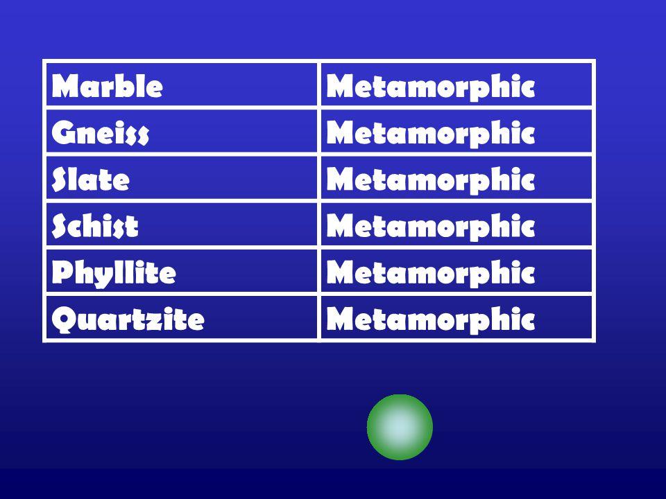 MarbleMetamorphic GneissMetamorphic SlateMetamorphic SchistMetamorphic PhylliteMetamorphic QuartziteMetamorphic