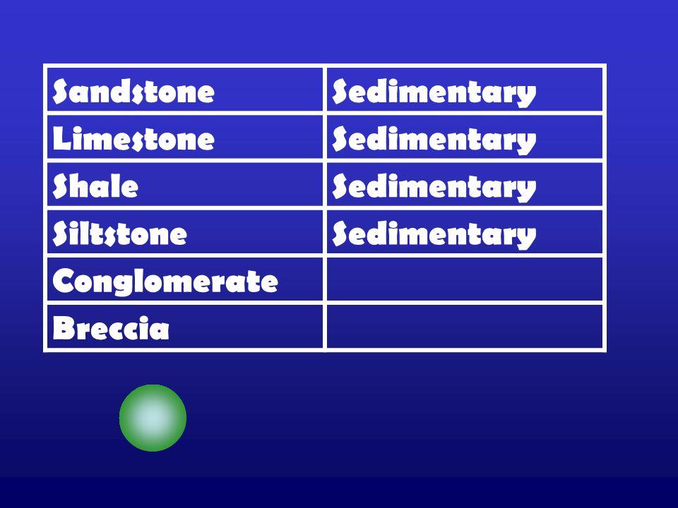 SandstoneSedimentary LimestoneSedimentary ShaleSedimentary SiltstoneSedimentary Conglomerate Breccia