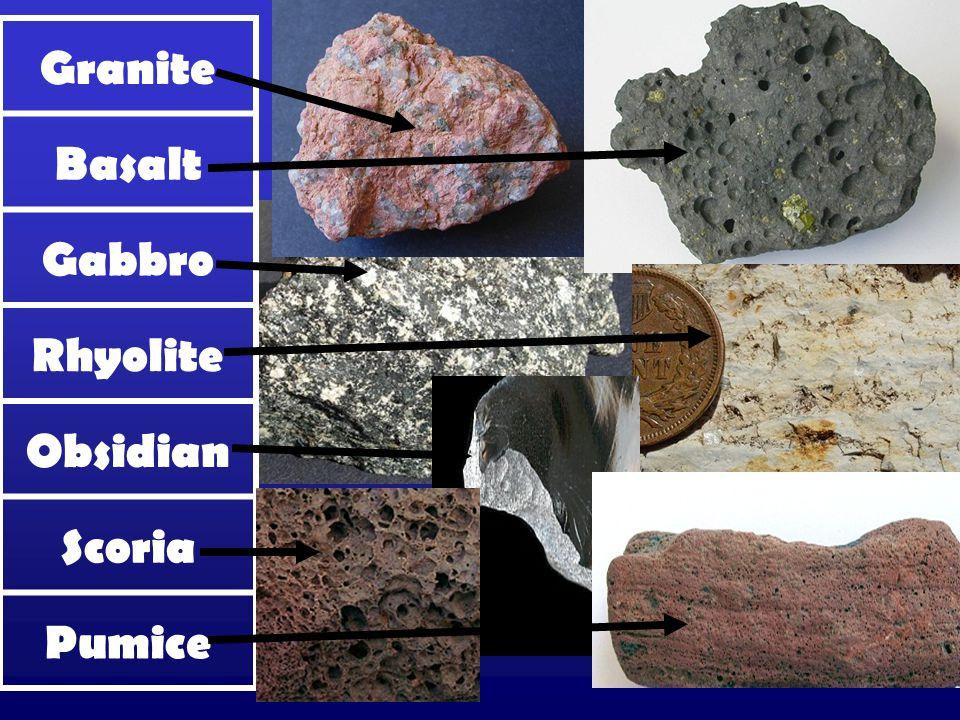 Granite Basalt Gabbro Rhyolite Obsidian Scoria Pumice