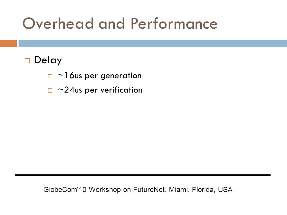 Overhead and Performance  Delay  ~16us per generation  ~24us per verification GlobeCom 10 Workshop on FutureNet, Miami, Florida, USA