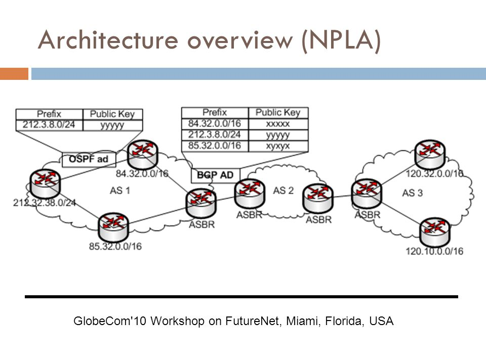 Architecture overview (NPLA) GlobeCom 10 Workshop on FutureNet, Miami, Florida, USA