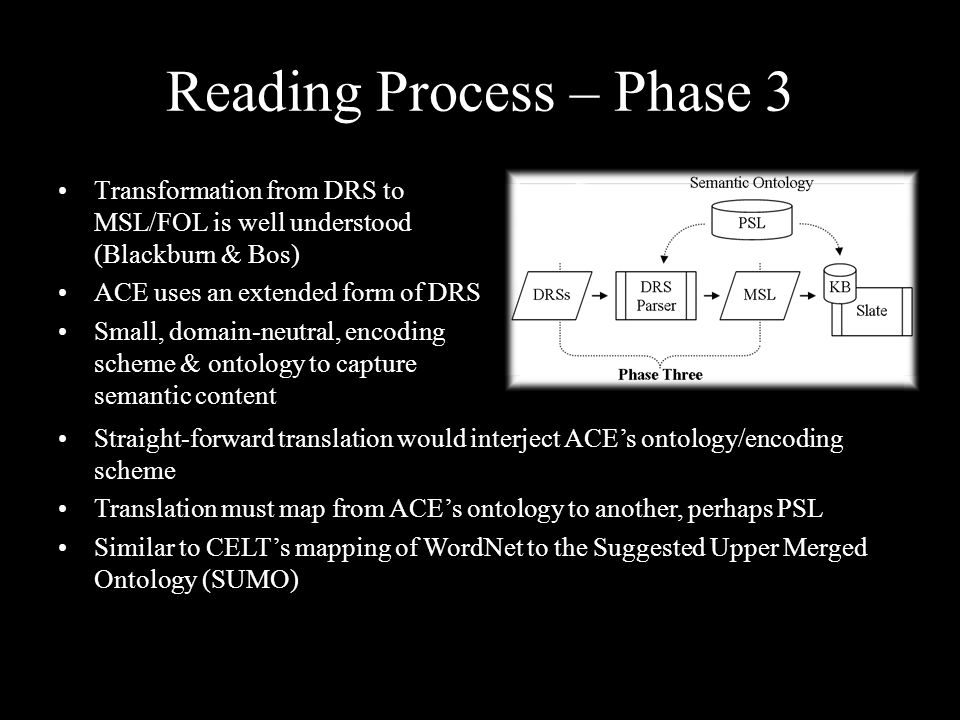 Reading Process – Phase 3 Transformation from DRS to MSL/FOL is well understood (Blackburn & Bos) ACE uses an extended form of DRS Small, domain-neutr