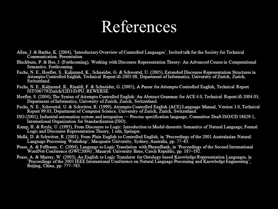 References Allen, J. & Barthe, K.