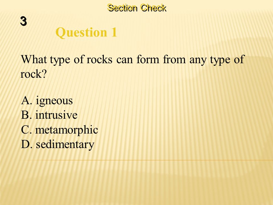 Section Check 3 3 Question 1 What type of rocks can form from any type of rock.