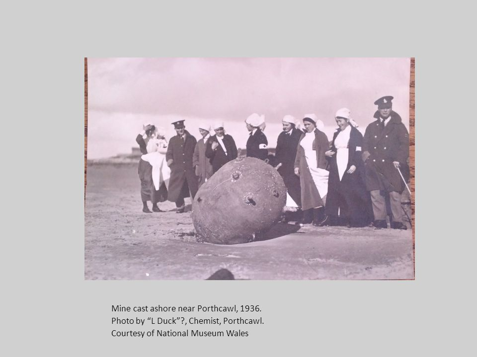 Mine cast ashore near Porthcawl, 1936. Photo by L Duck , Chemist, Porthcawl.