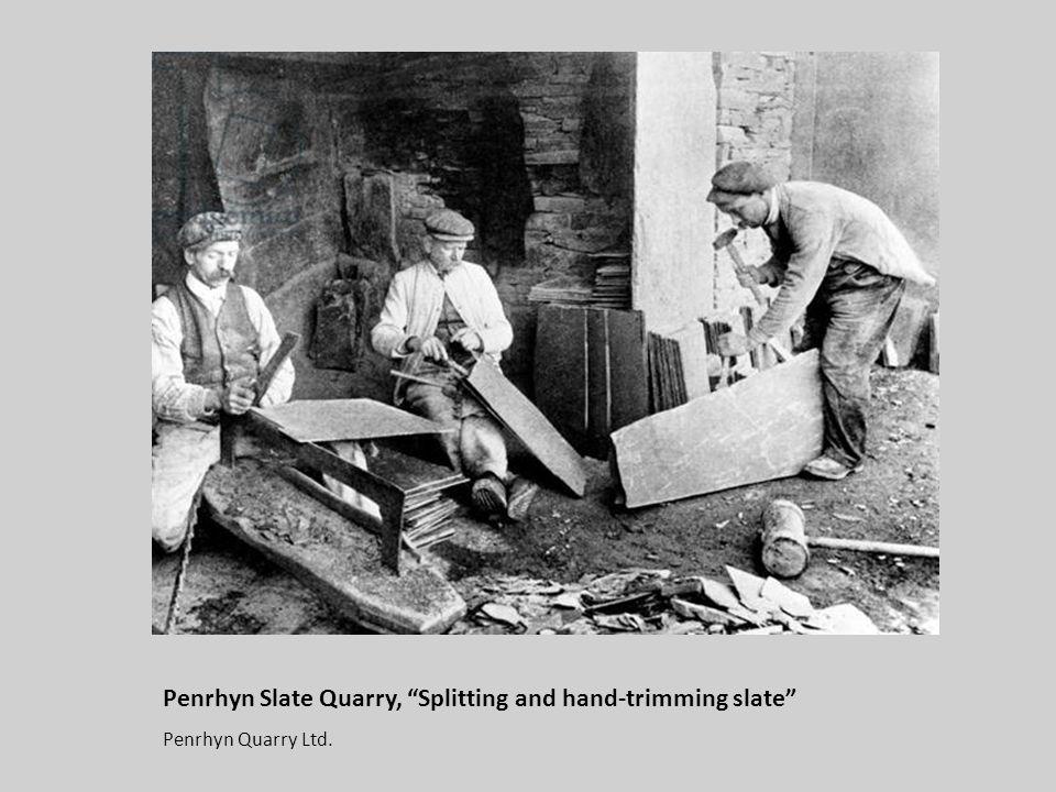 Penrhyn Slate Quarry, Splitting and hand-trimming slate Penrhyn Quarry Ltd.