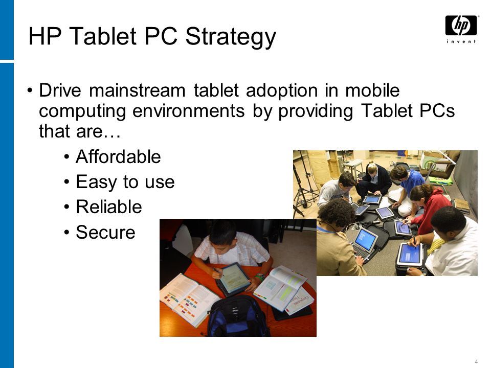 5 The Convertible Advantage Brings Tablet computing to a wider audience −Users more willing to try Tablet when they have comfortability of the standard notebook design −Able to provide full computing power in a tablet design Keeps costs under control −Features that drive cost/price premiums in hybrid/slate designs Unique accessories Unique, stand alone keyboard ULV/LV processors Smaller HDDs Mechanical complexity Easier to manage a mixed mobile computing environment −HP tc4200 shares docking, travel battery, features, and other accessories with entire business notebook line