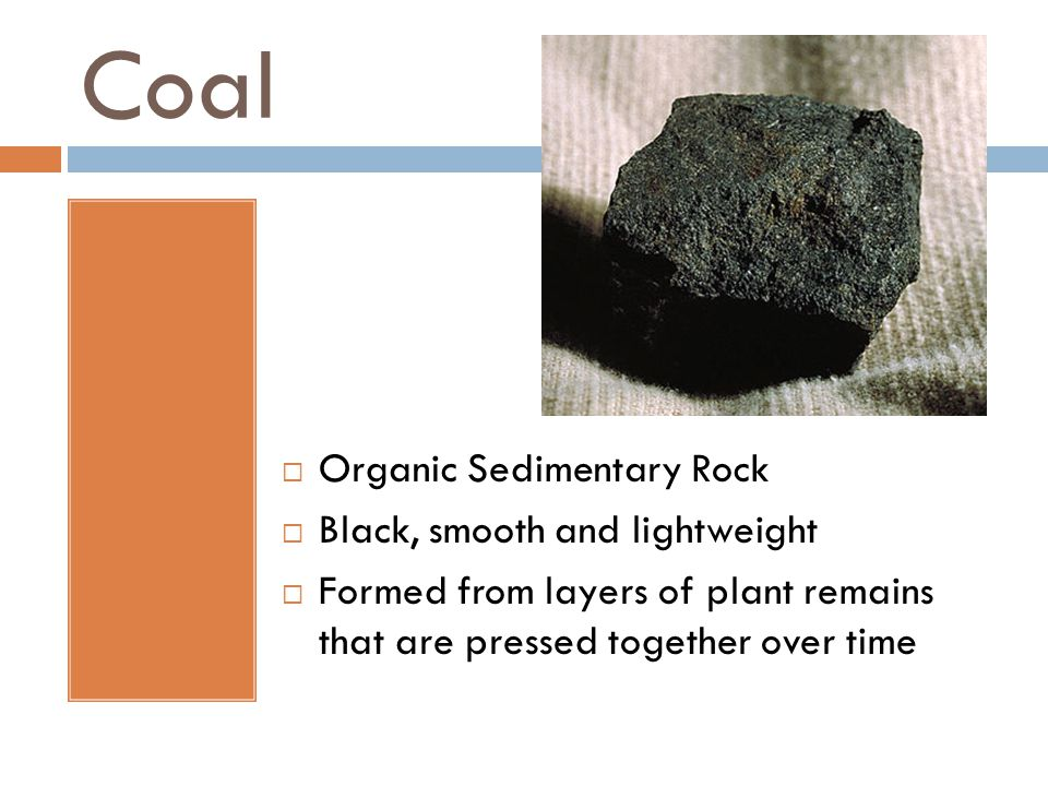 Coal  Organic Sedimentary Rock  Black, smooth and lightweight  Formed from layers of plant remains that are pressed together over time