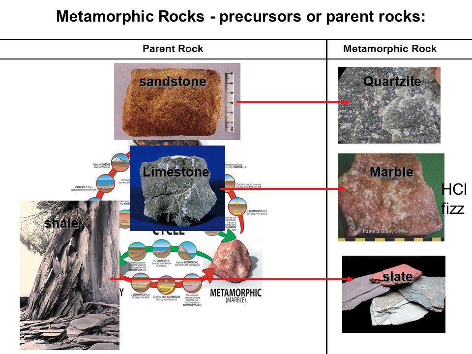 Metamorphic Rocks - precursors or parent rocks: Metamorphic RockParent Rock Quartzite Marble HCl fizz slate sandstone Limestone shale