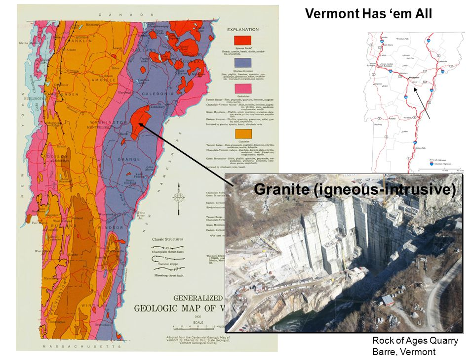 Vermont Has 'em All Rock of Ages Quarry Barre, Vermont Granite (igneous-intrusive)