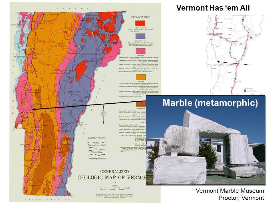 Vermont Has 'em All Marble (metamorphic) Vermont Marble Museum Proctor, Vermont