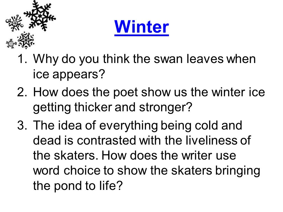 Winter 1.Why do you think the swan leaves when ice appears.
