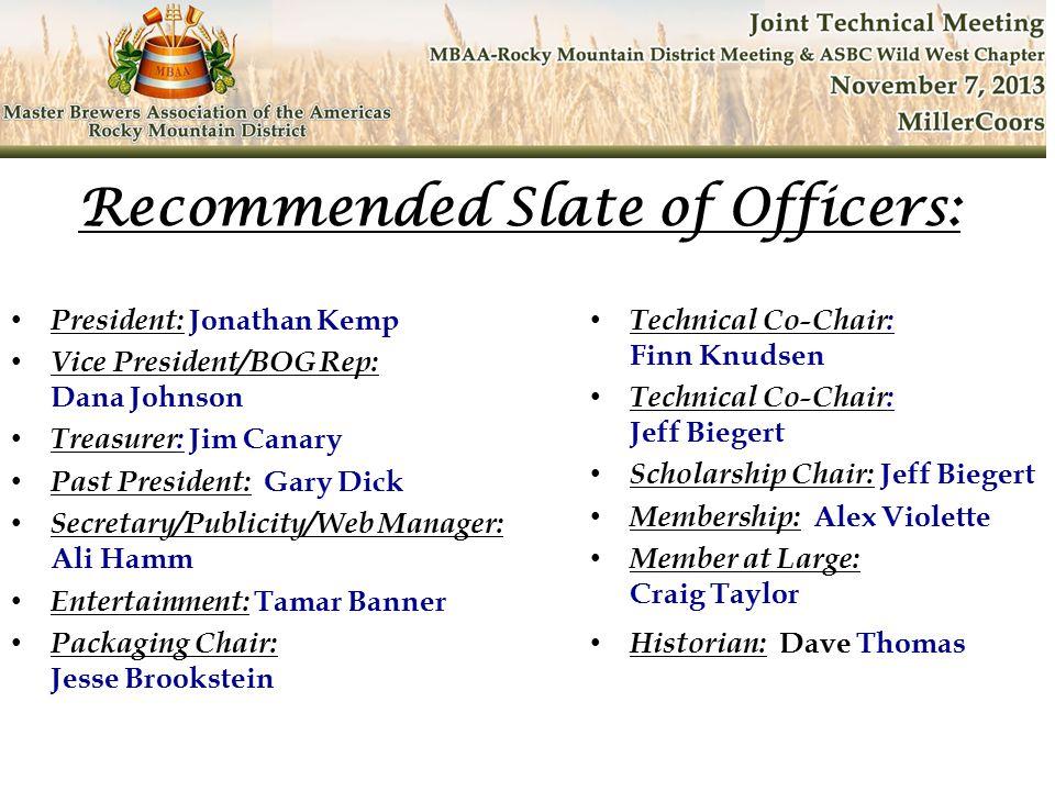 President: Jonathan Kemp Vice President/BOG Rep: Dana Johnson Treasurer: Jim Canary Past President: Gary Dick Secretary/Publicity/Web Manager: Ali Ham