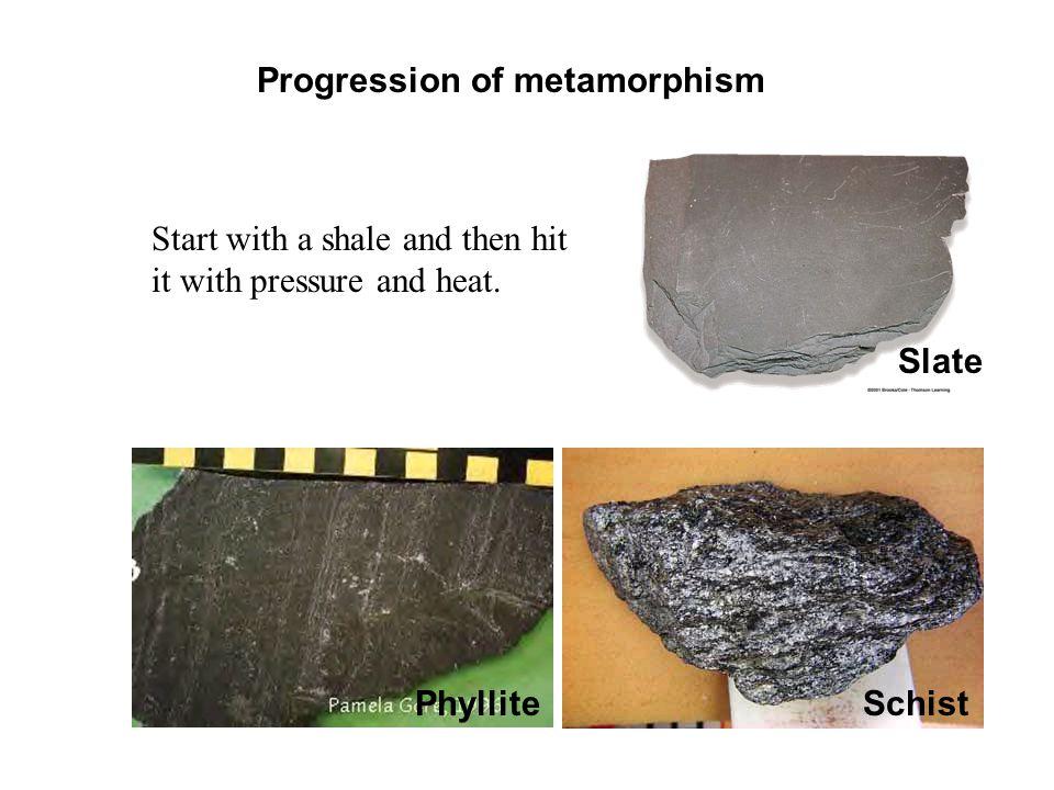 Sandstone: Quartzite, Metaquartzite Shale:Phyllite Slate Schist Gneiss Limestone:Marble Metamorphism of Sedimentary Rocks Protolith (Precursor)