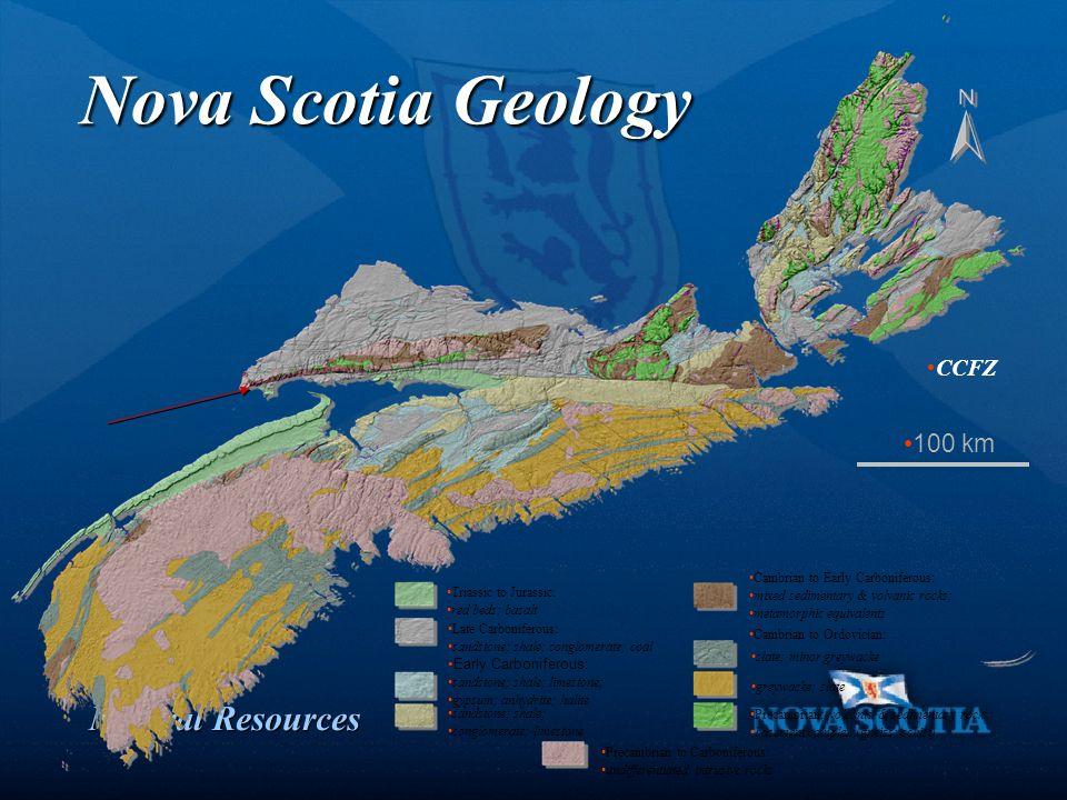 Natural Resources Nova Scotia Geology Precambrian to Carboniferous: undifferentiated intrusive rocks Precambrian: volcanic & sedimentary rocks basemen