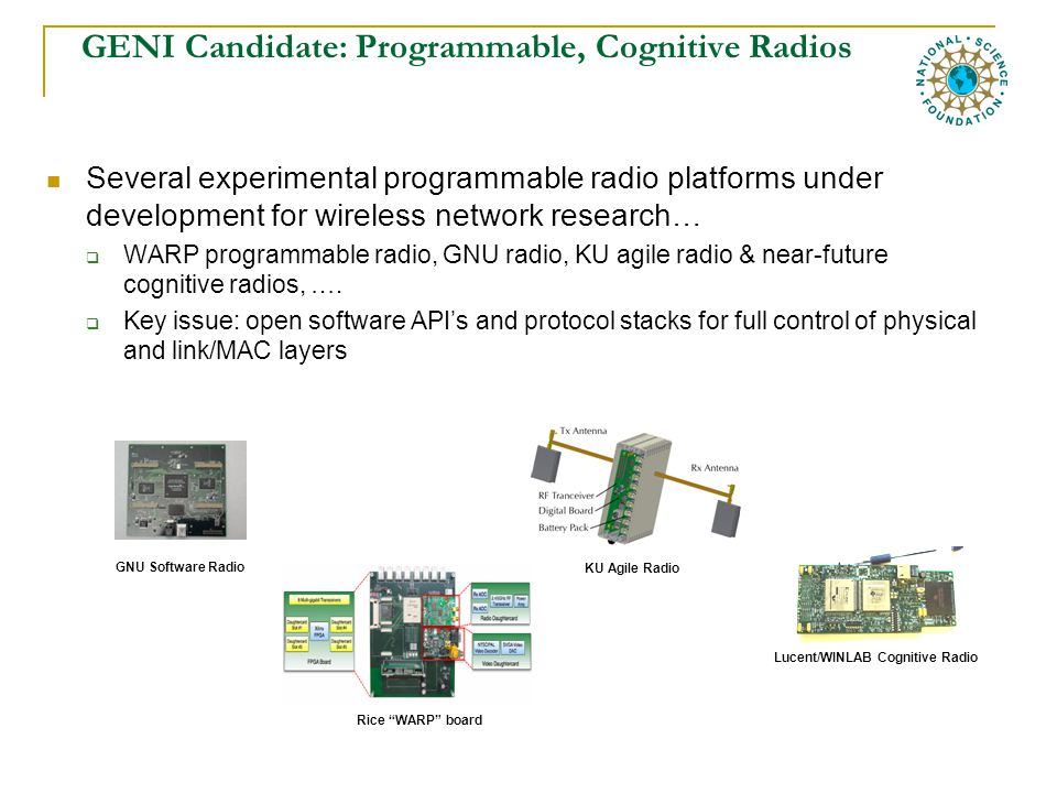 GENI Candidate: Programmable, Cognitive Radios Several experimental programmable radio platforms under development for wireless network research…  WARP programmable radio, GNU radio, KU agile radio & near-future cognitive radios, ….