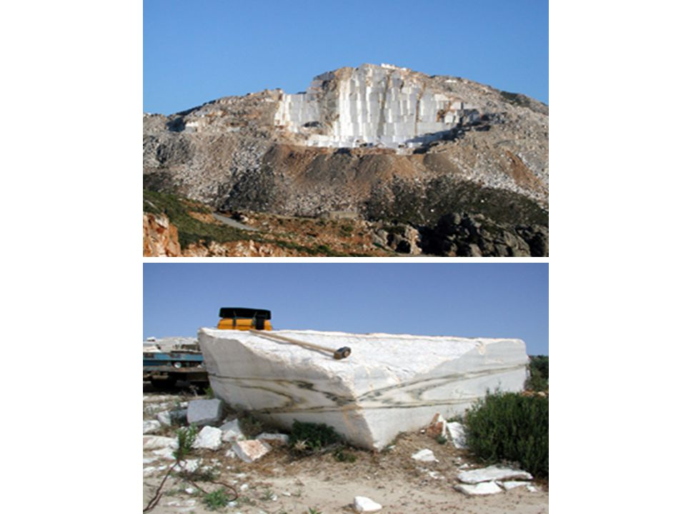 Marble: a metamorphic rock composed predominantly of calcite or dolomite.