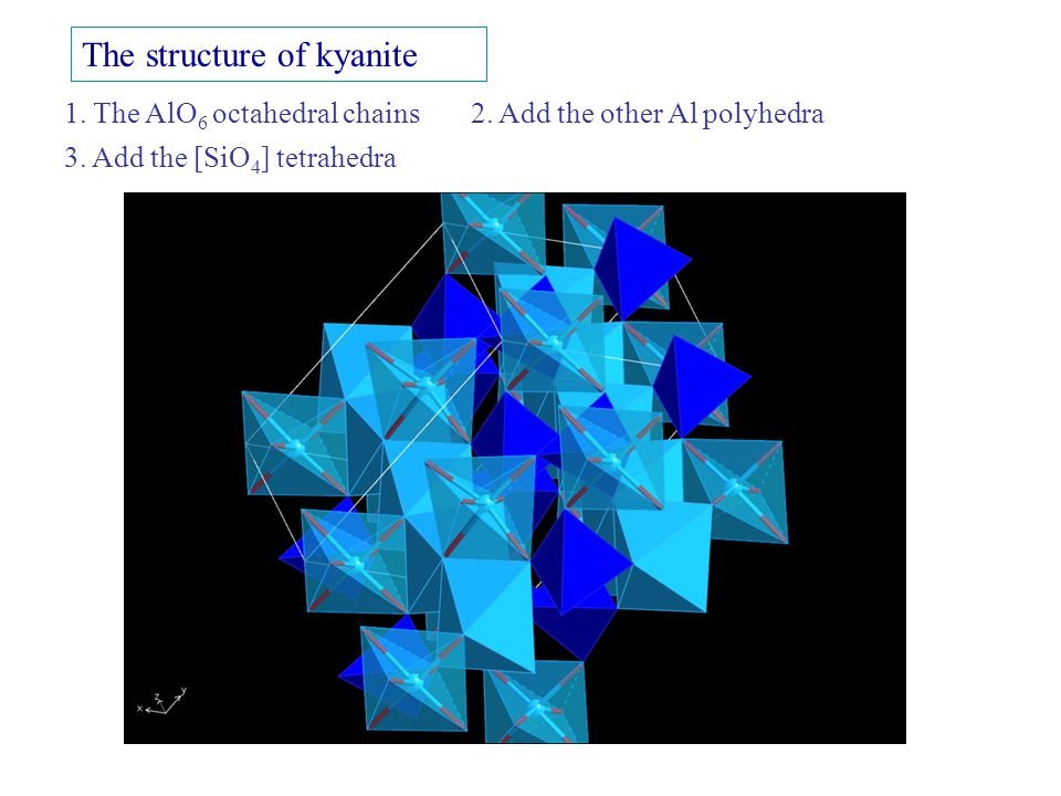 The structure of kyanite 1. The AlO 6 octahedral chains 2. Add the other Al polyhedra