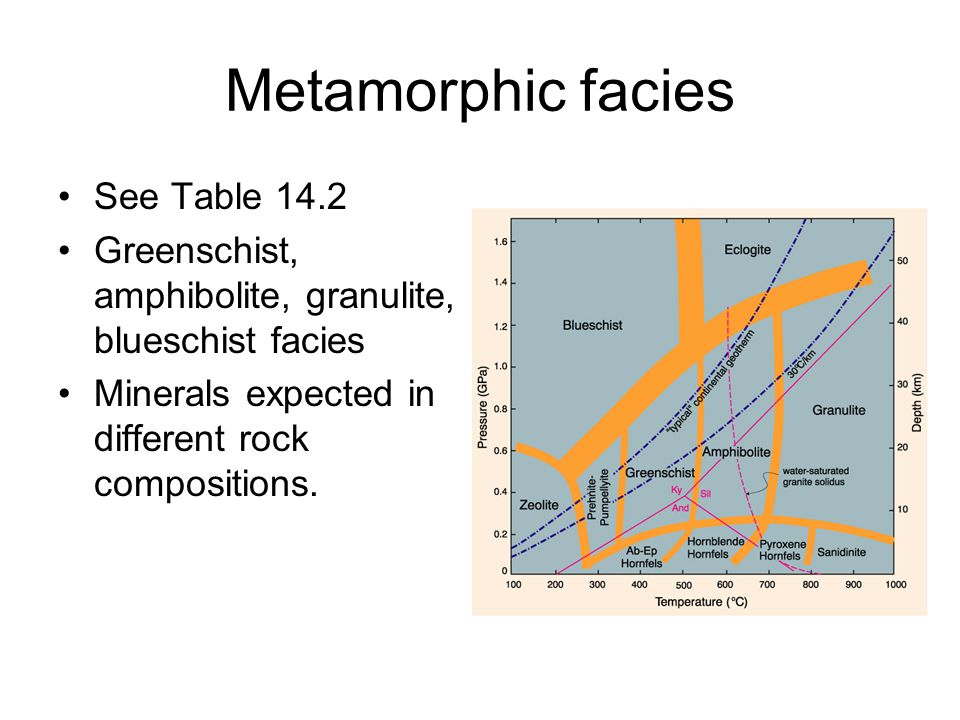 Metamorphic facies High P/T series: subduction zones Medium P/T series: regional met.