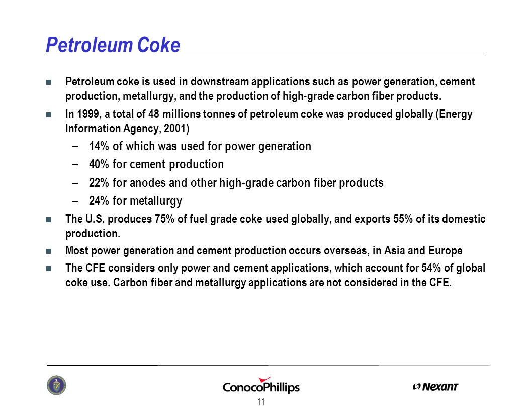 11 Petroleum Coke n Petroleum coke is used in downstream applications such as power generation, cement production, metallurgy, and the production of high-grade carbon fiber products.