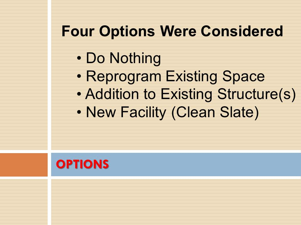 OPTIONS Four Options Were Considered Do Nothing Reprogram Existing Space Addition to Existing Structure(s) New Facility (Clean Slate)