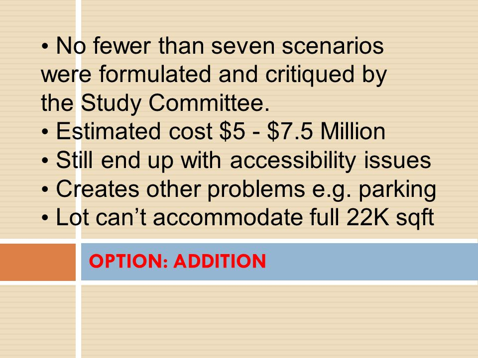 OPTION: ADDITION No fewer than seven scenarios were formulated and critiqued by the Study Committee.