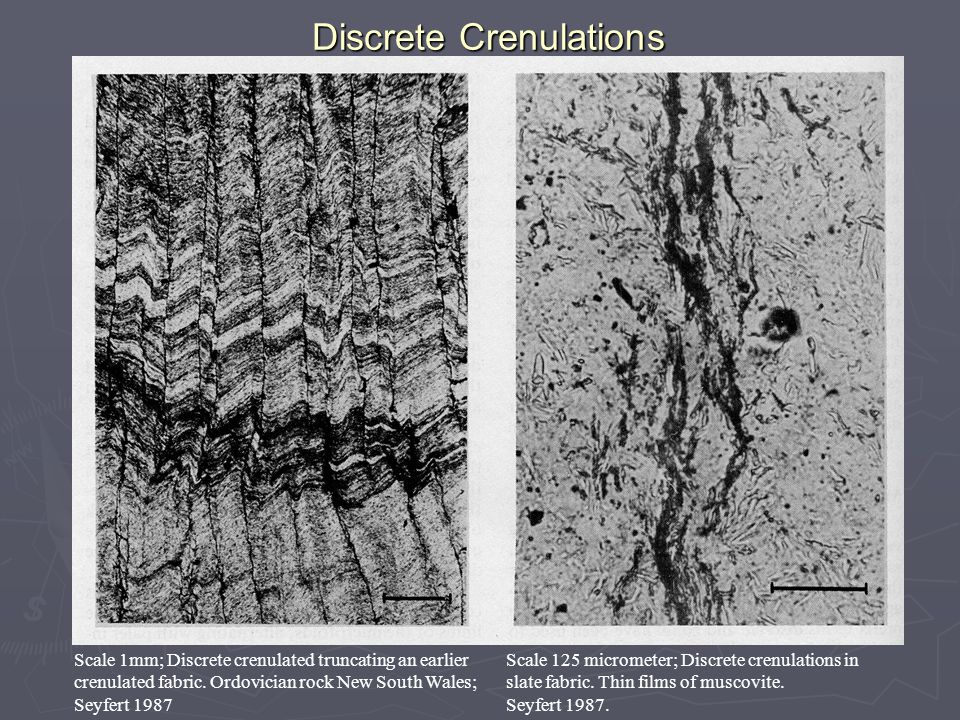 Discrete Crenulations Scale 1mm; Discrete crenulated truncating an earlier crenulated fabric.