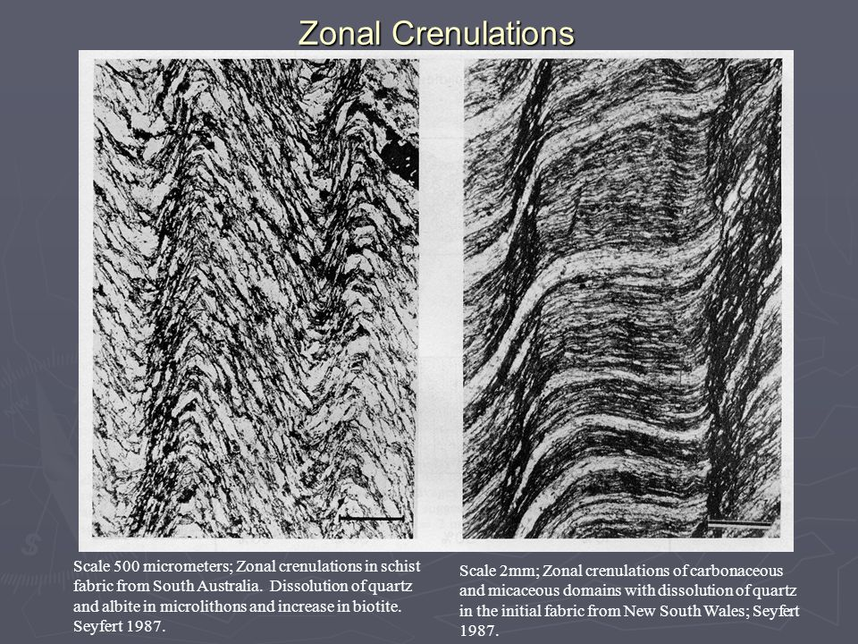 Zonal Crenulations Scale 500 micrometers; Zonal crenulations in schist fabric from South Australia.