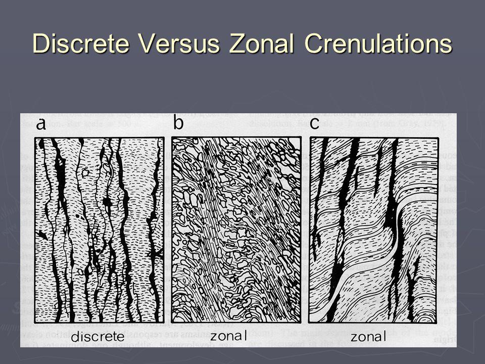 Discrete Versus Zonal Crenulations