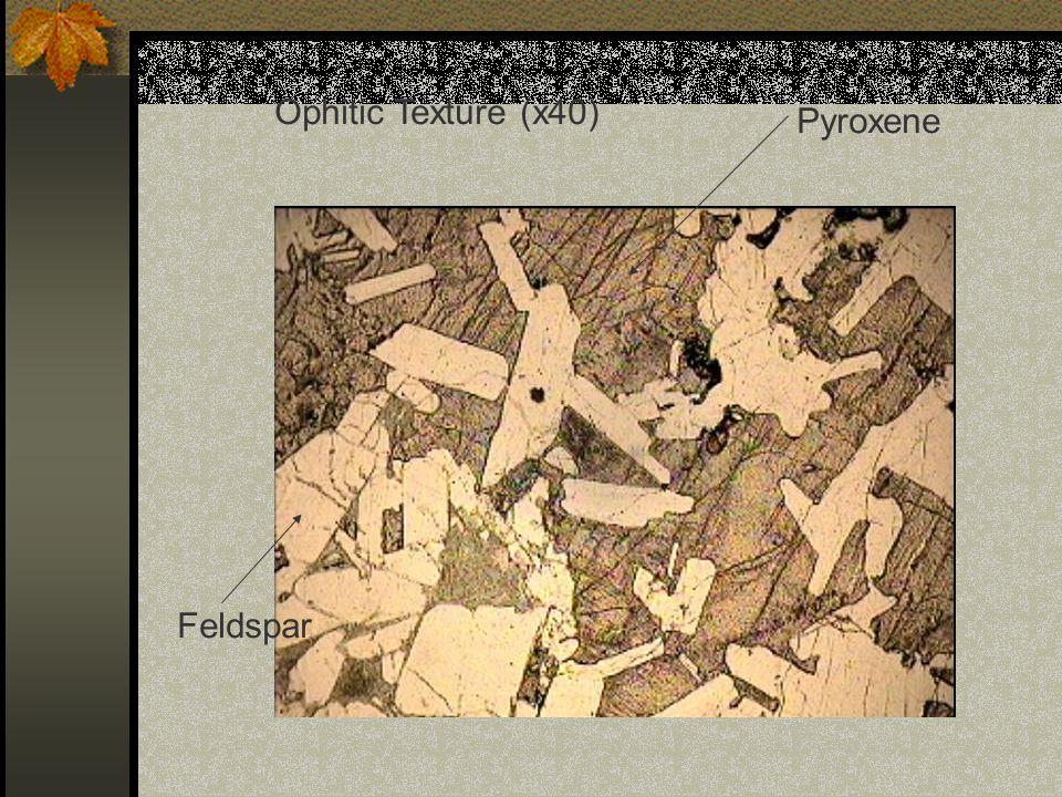 Ophitic Texture (x40) Pyroxene Feldspar
