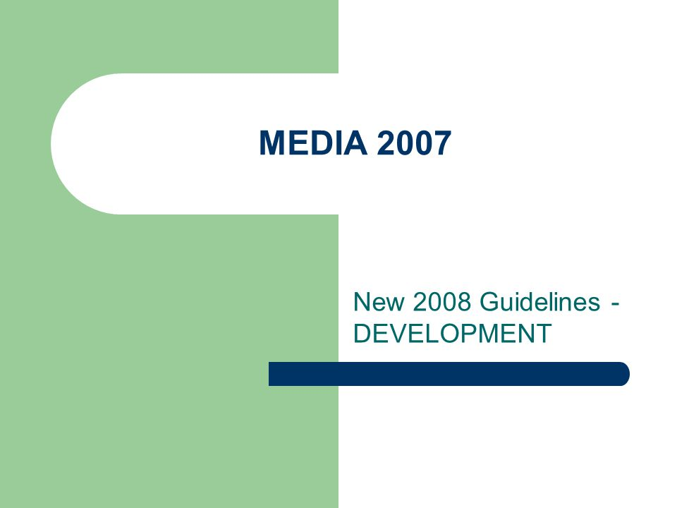 MEDIA 2007 New 2008 Guidelines - DEVELOPMENT