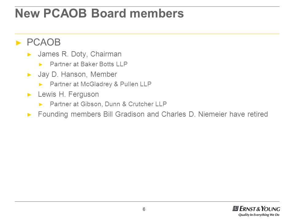 6 New PCAOB Board members ► PCAOB ► James R. Doty, Chairman ► Partner at Baker Botts LLP ► Jay D.