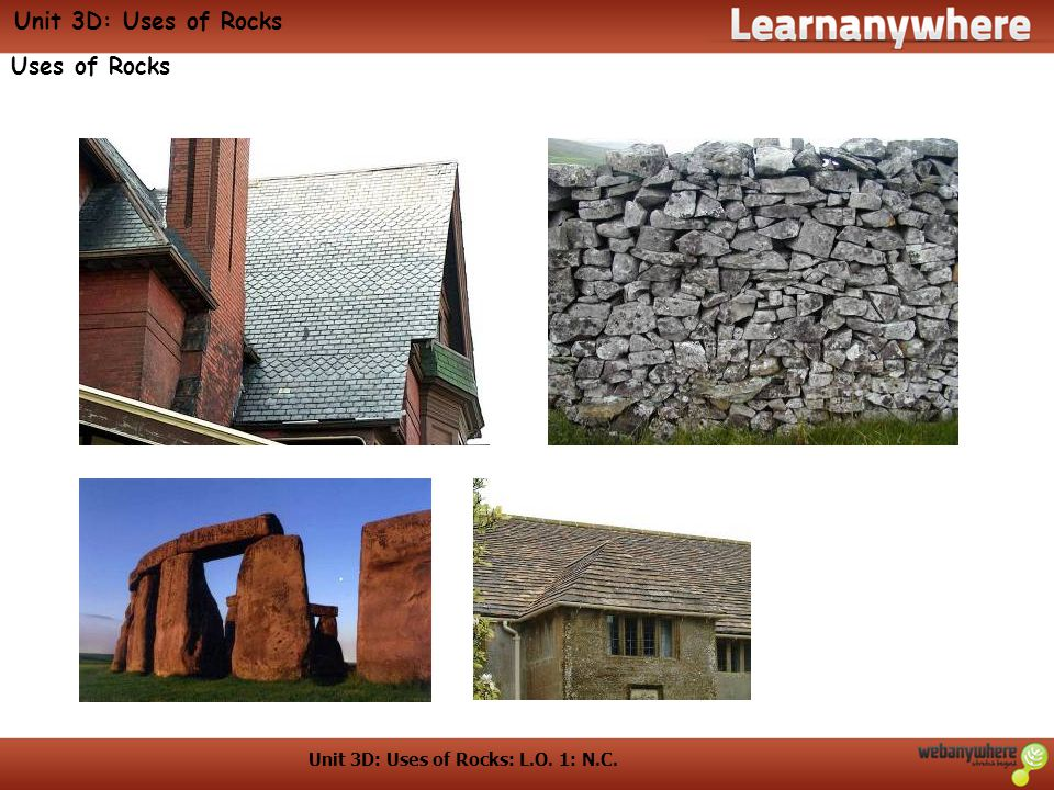 Unit 3D: Uses of Rocks: L.O. 1: N.C. Unit 3D: Uses of Rocks Uses of Rocks