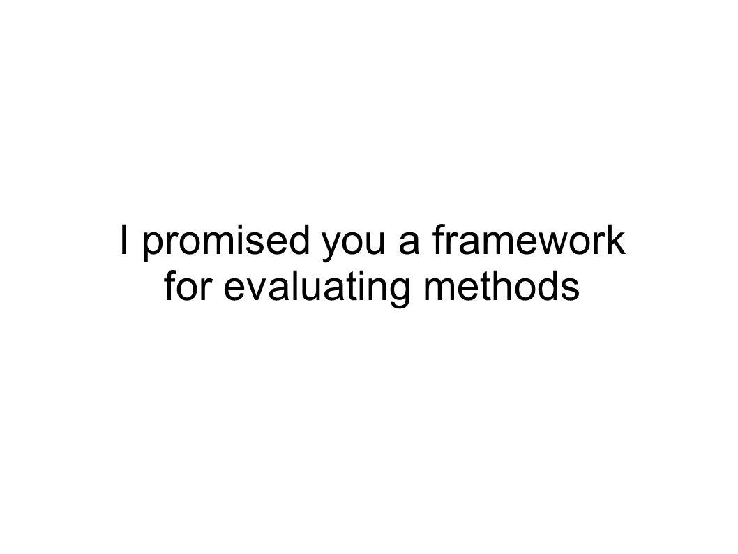 I promised you a framework for evaluating methods