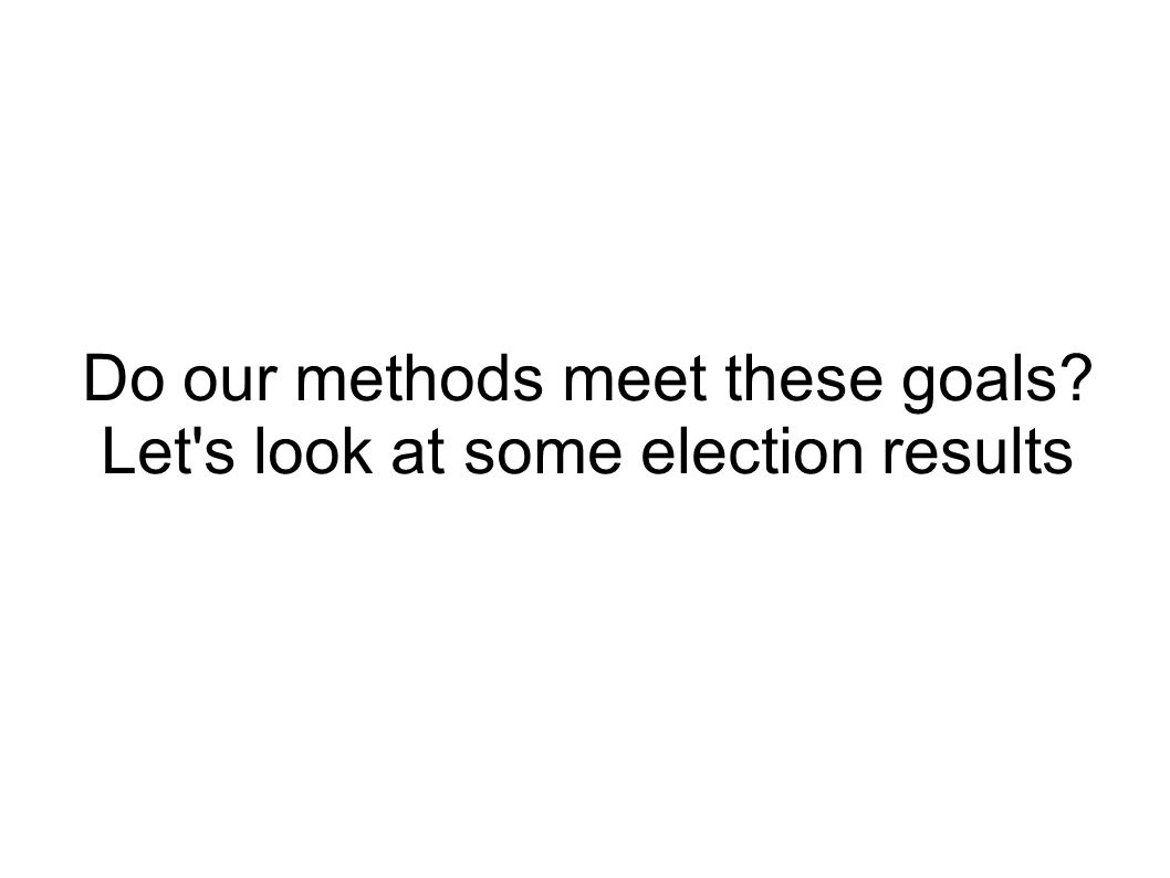 Do our methods meet these goals Let s look at some election results
