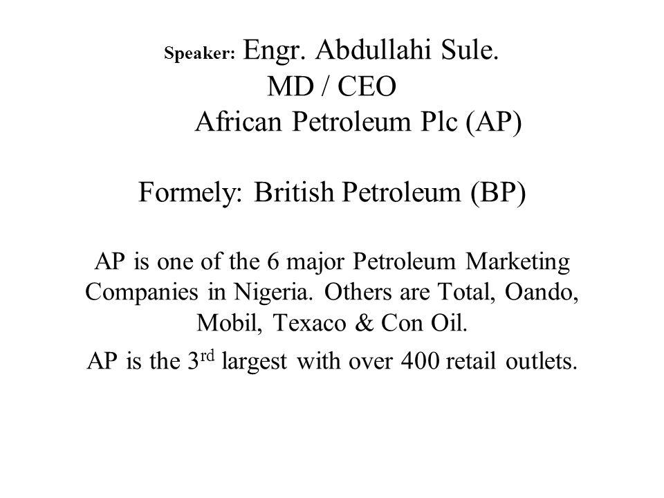 Speaker: Engr. Abdullahi Sule.