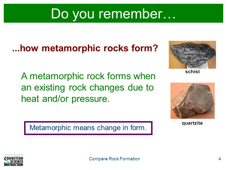 Compare Rock Formation4 Do you remember…...how metamorphic rocks form.