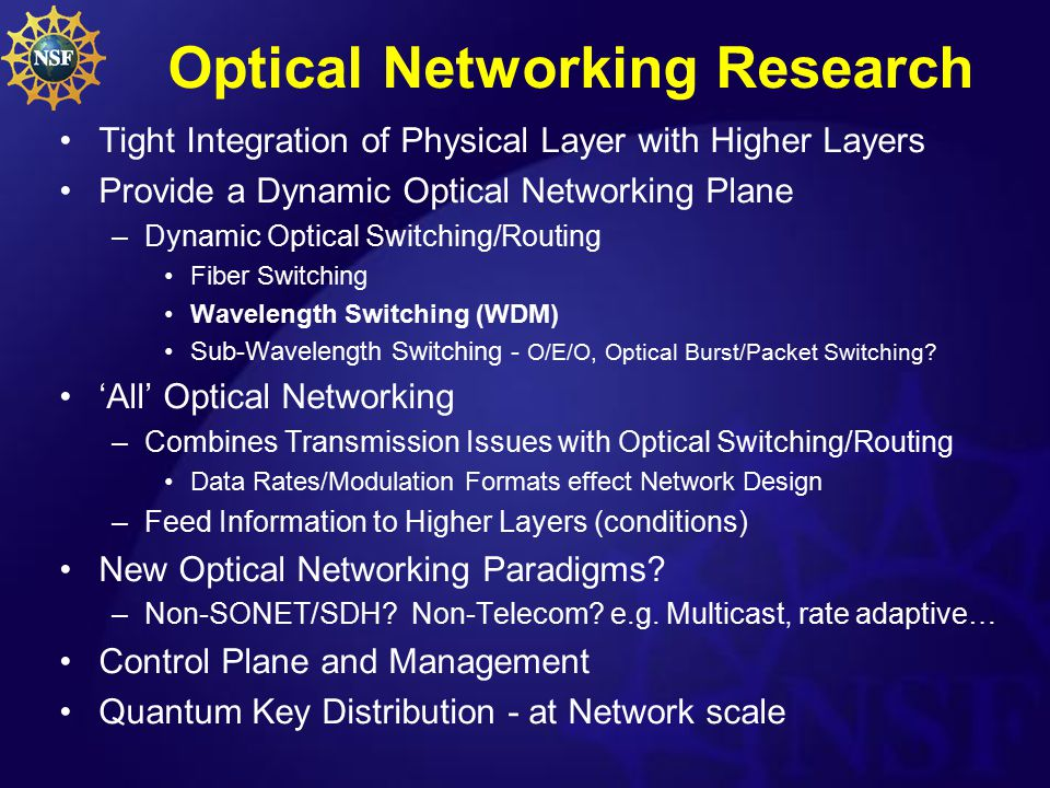 Optical Networking Research Tight Integration of Physical Layer with Higher Layers Provide a Dynamic Optical Networking Plane –Dynamic Optical Switchi