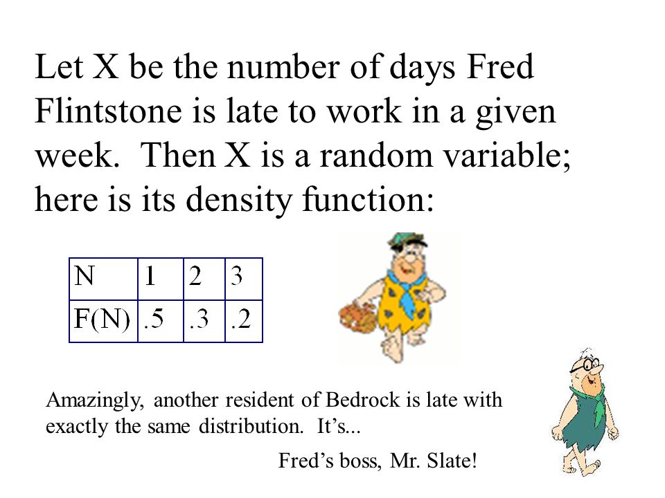 Let X be the number of days Fred Flintstone is late to work in a given week.